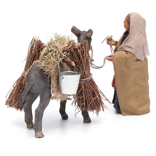 Femme avec âne chargé 10 cm crèche napolitaine 3