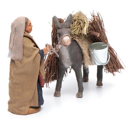 Femme avec âne chargé 10 cm crèche napolitaine 4