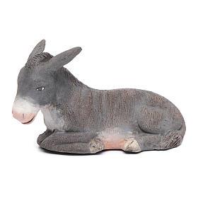 Neapolitan Nativity Scene: Sitting decorated little donkey 12 cm for Neapolitan nativity scene