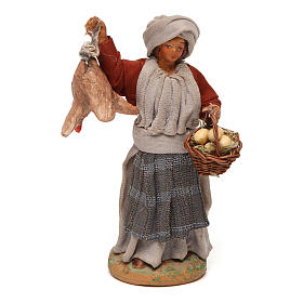 Neapolitan Nativity Scene: Woman with hanging hen and egg basket 12 cm   for Neapolitan nativity scene.
