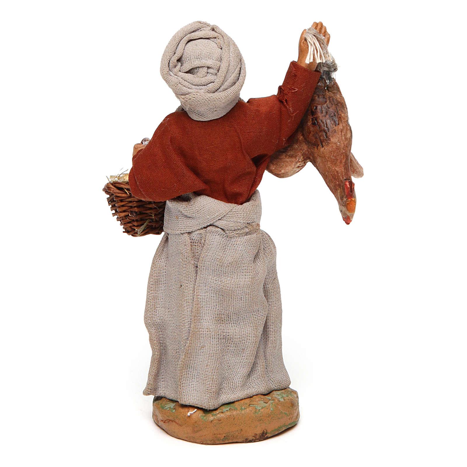 Donna con gallina appesa e cesto di uova 12 cm presepe napoletano 4
