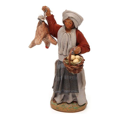 Donna con gallina appesa e cesto di uova 12 cm presepe napoletano 2