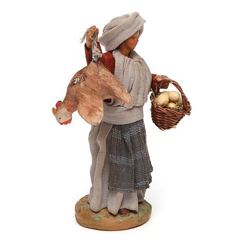 Donna con gallina appesa e cesto di uova 12 cm presepe napoletano 3