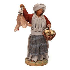 Neapolitan Nativity Scene: Woman with hanging hen and egg basket 12 cm   for Neapolitan nativity scene.