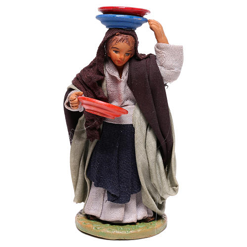 Woman with plates 12 cm for Neapolitan nativity scene 1