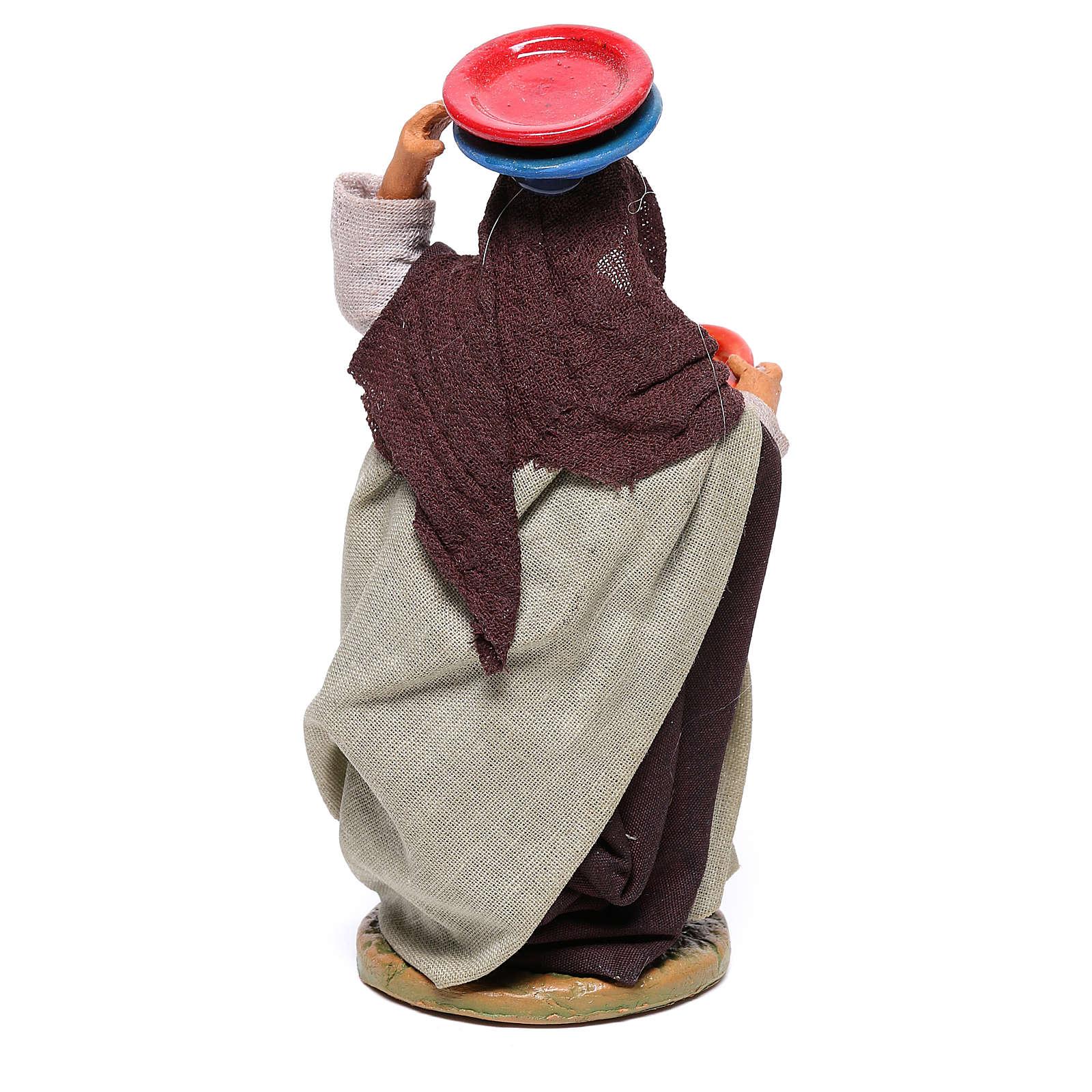 Mujer con platos 12 cm belèn napolitano 4