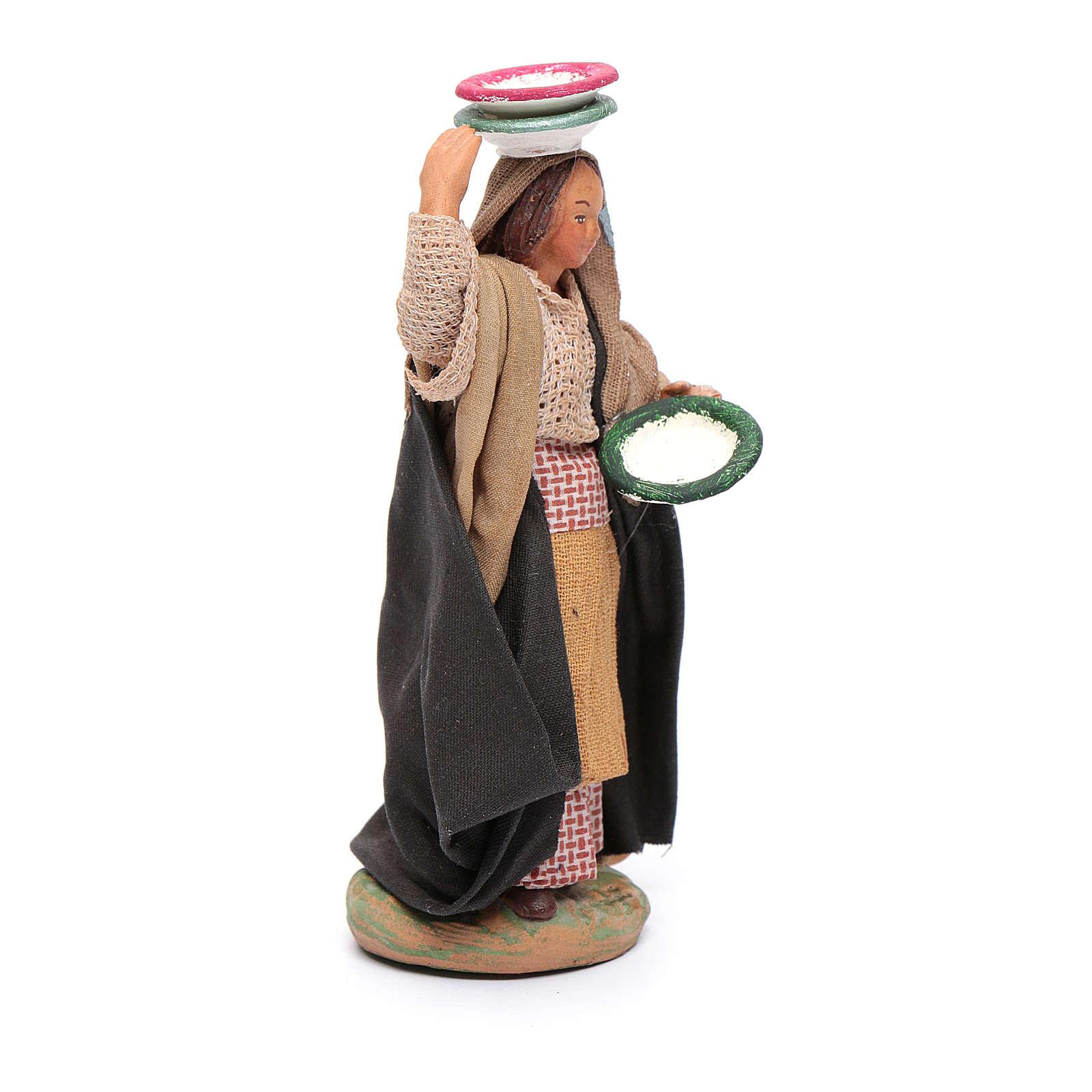 Donna con piatti 12 cm presepe napoletano 4