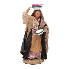Donna con piatti 12 cm presepe napoletano s1