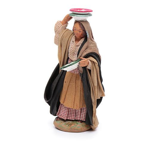 Donna con piatti 12 cm presepe napoletano 2