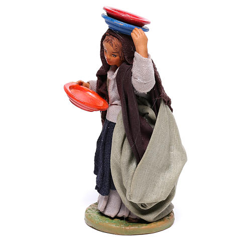 Woman with plates 12 cm for Neapolitan nativity scene 2