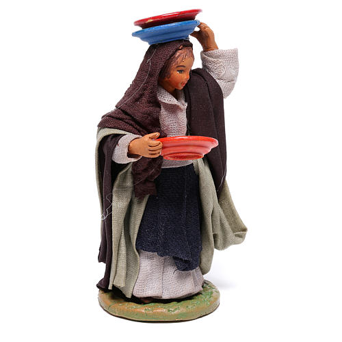 Woman with plates 12 cm for Neapolitan nativity scene 3