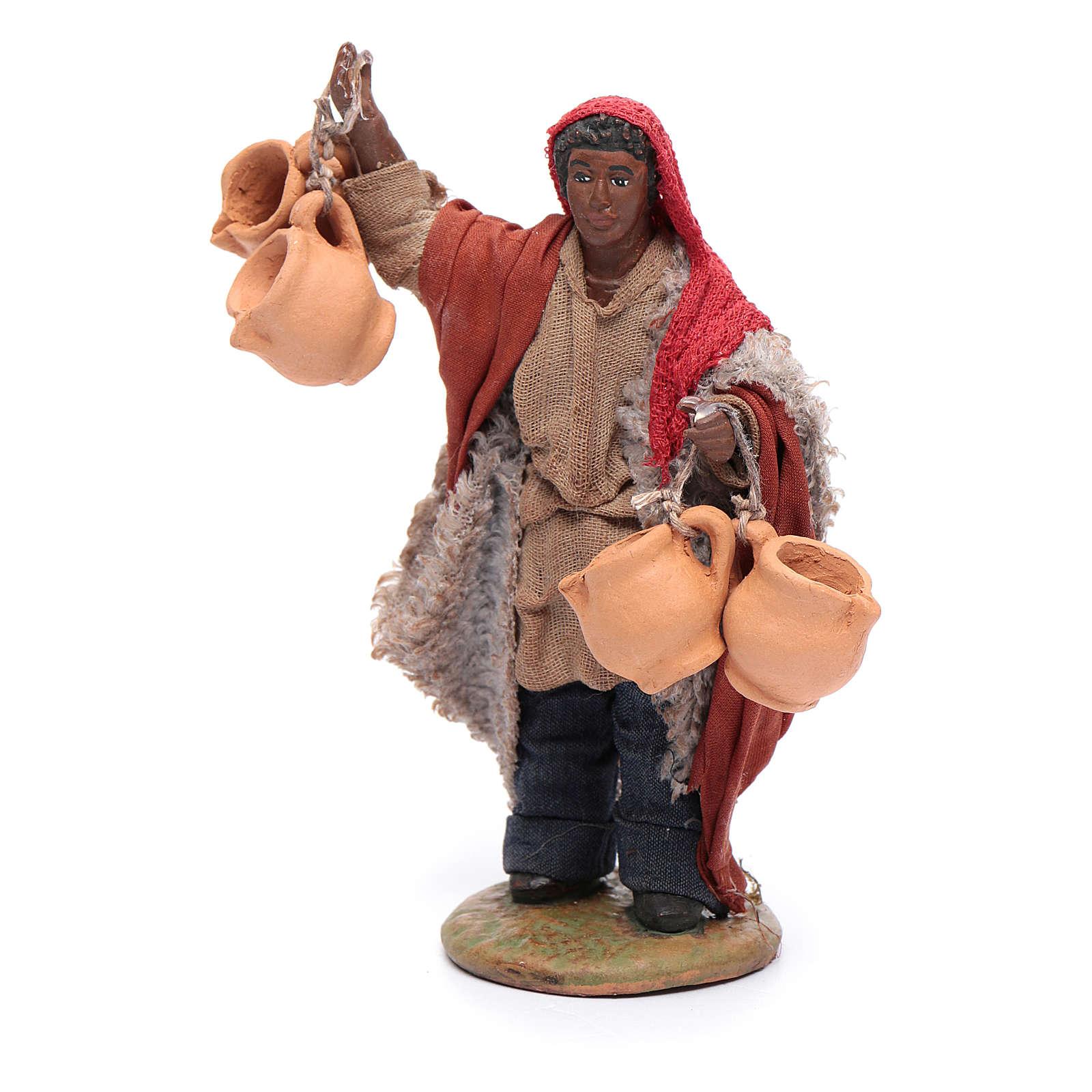 Uomo moro portatore di brocche appese 12 cm presepe Napoli 4