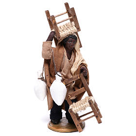 Moor man with chair on his head and in his hands 12 cm for Neapolitan nativity scene s1
