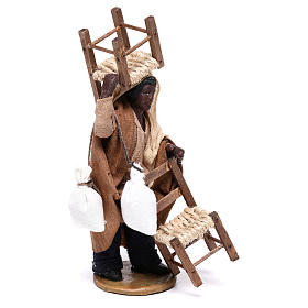 Moor man with chair on his head and in his hands 12 cm for Neapolitan nativity scene s4