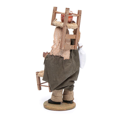 Moor man with chair on his head and in his hands 12 cm for Neapolitan nativity scene 3
