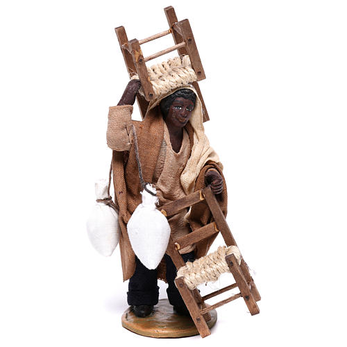 Moor man with chair on his head and in his hands 12 cm for Neapolitan nativity scene 1