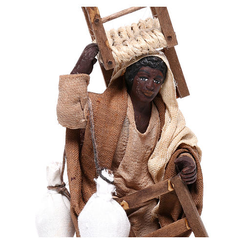 Moor man with chair on his head and in his hands 12 cm for Neapolitan nativity scene 2