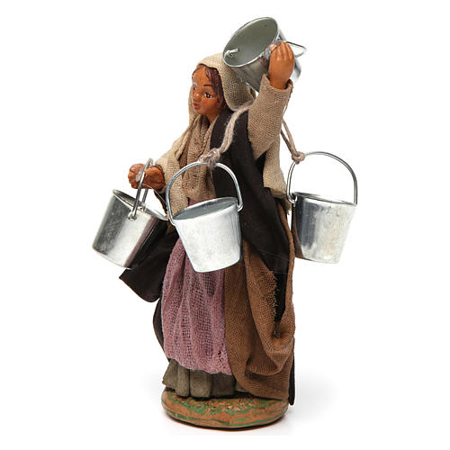 Woman carrying buckets 12 cm for Neapolitan nativity scene 2