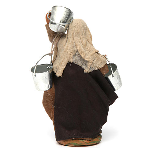 Woman carrying buckets 12 cm for Neapolitan nativity scene 4