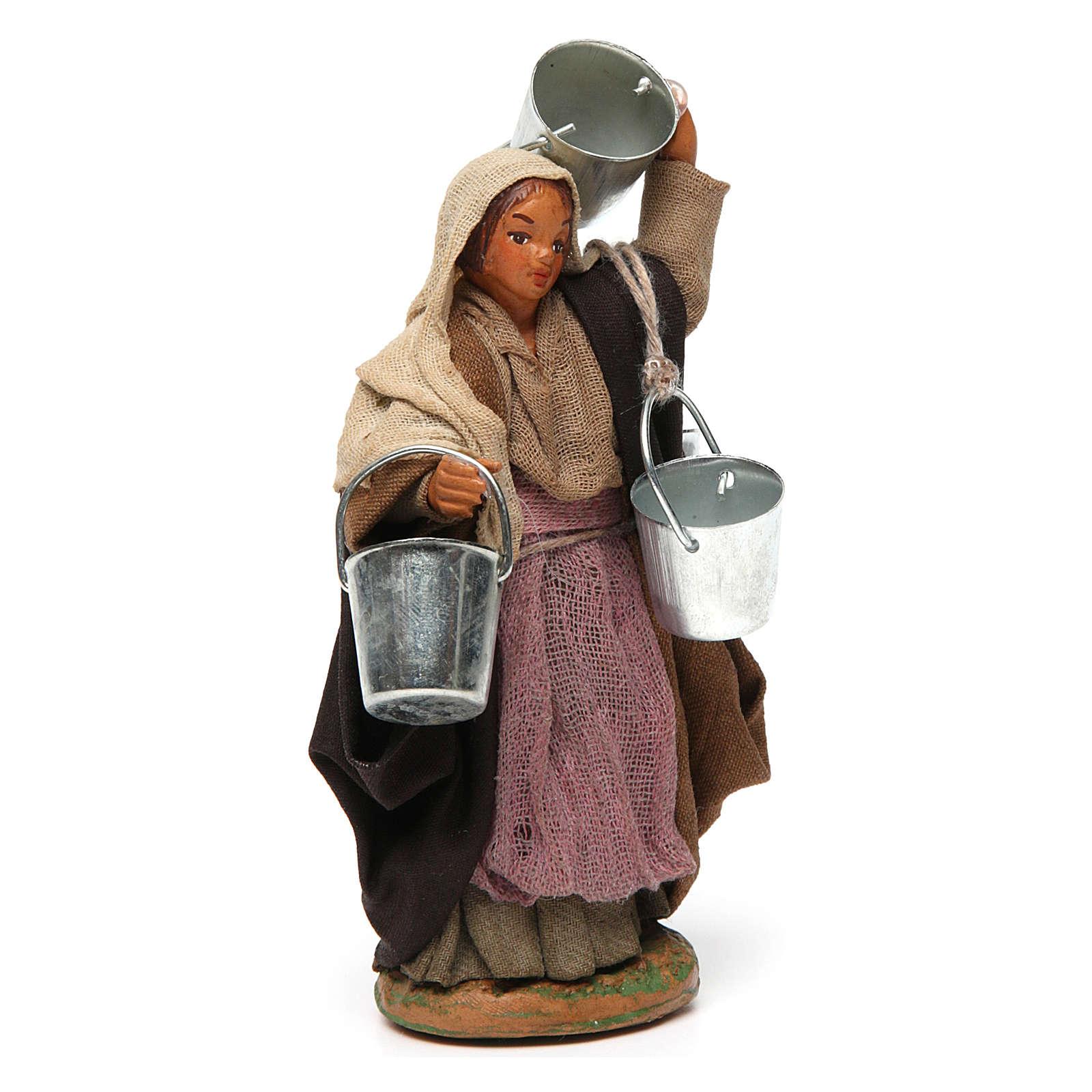 Woman carrying buckets 12 cm for Neapolitan nativity scene 4