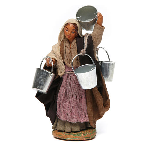 Woman carrying buckets 12 cm for Neapolitan nativity scene 1