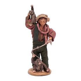 Uomo con scimmie 12 cm in terracotta presepe napoletano s1