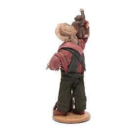 Uomo con scimmie 12 cm in terracotta presepe napoletano s3