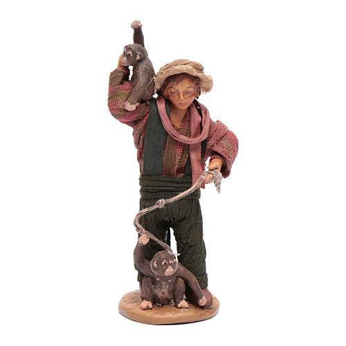Uomo con scimmie 12 cm in terracotta presepe napoletano 1