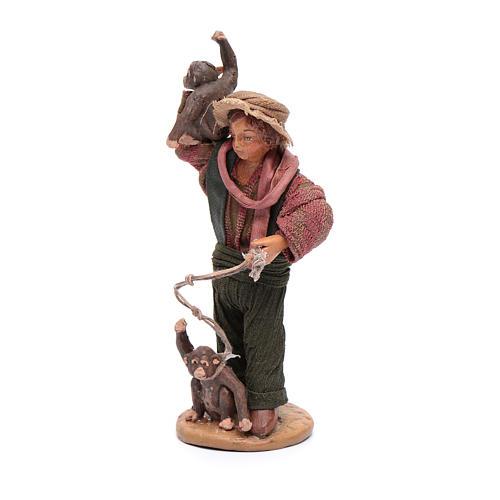 Uomo con scimmie 12 cm in terracotta presepe napoletano 2