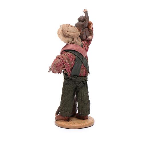 Uomo con scimmie 12 cm in terracotta presepe napoletano 3