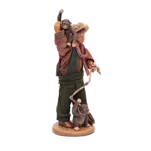 Uomo con scimmie 12 cm in terracotta presepe napoletano 4