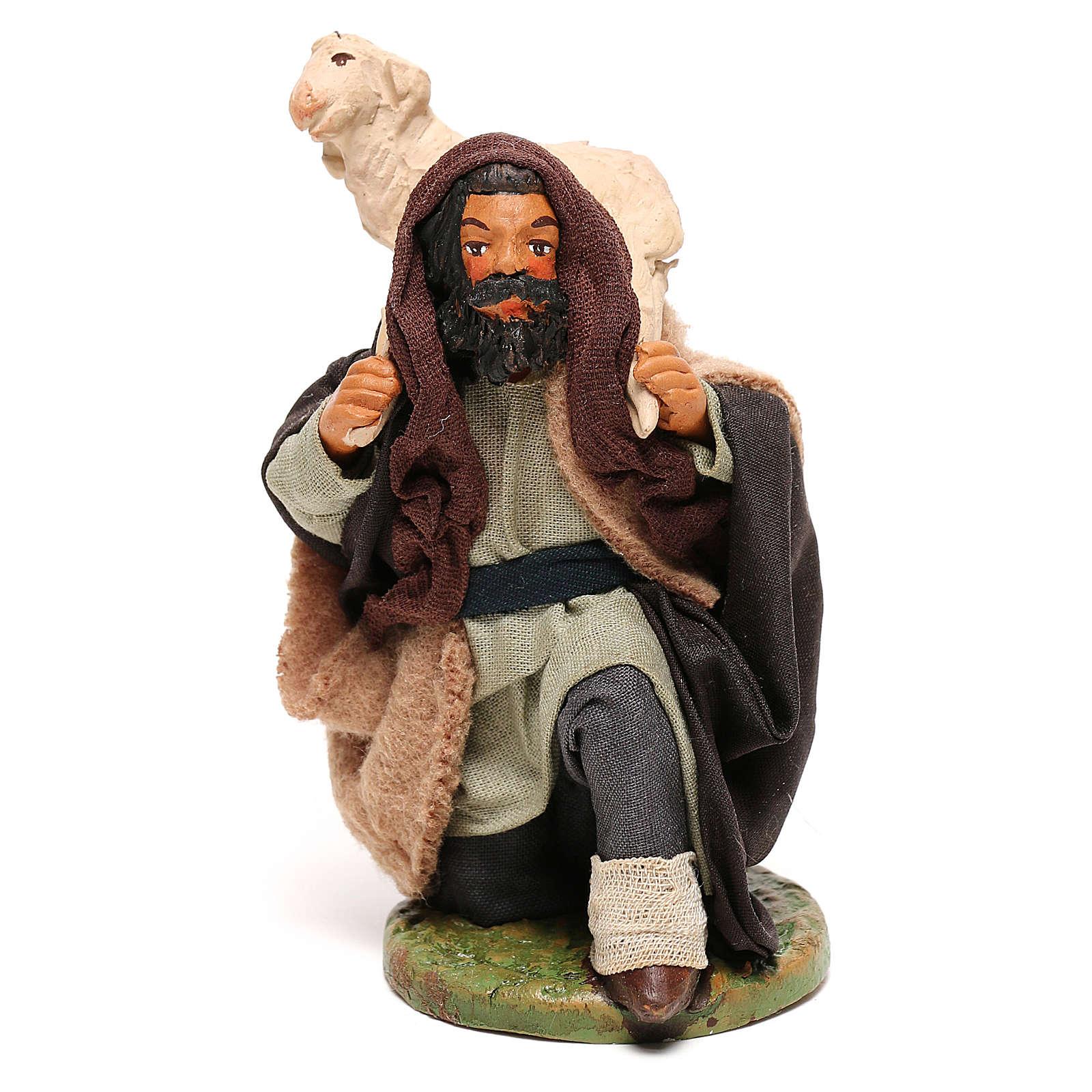 Shepherd kneeling with sheep for Neapolitan Nativity scene 12 cm 4