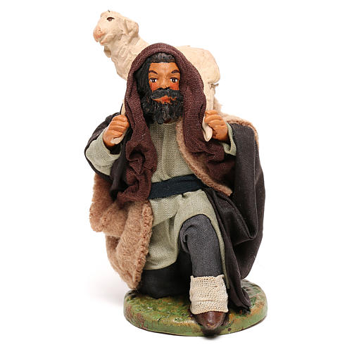 Shepherd kneeling with sheep for Neapolitan Nativity scene 12 cm 1