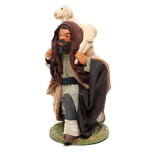 Shepherd kneeling with sheep for Neapolitan Nativity scene 12 cm 2