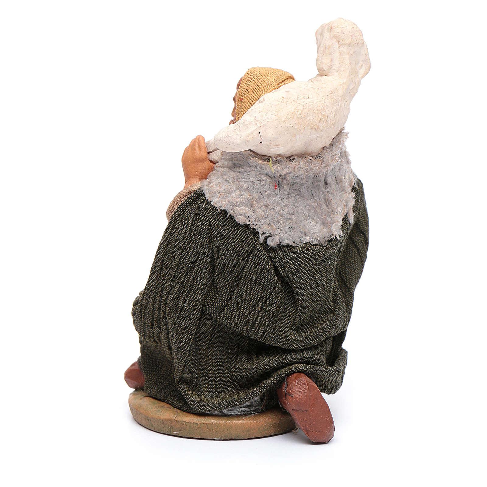 Pastore in ginocchio con pecora sulle spalle 12 cm presepe Napoli 4