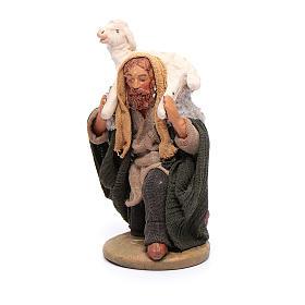 Pastore in ginocchio con pecora sulle spalle 12 cm presepe Napoli s2