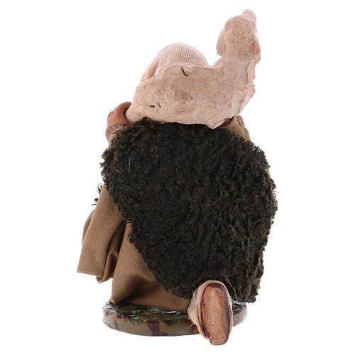 Pastore in ginocchio con pecora sulle spalle 12 cm presepe Napoli 2