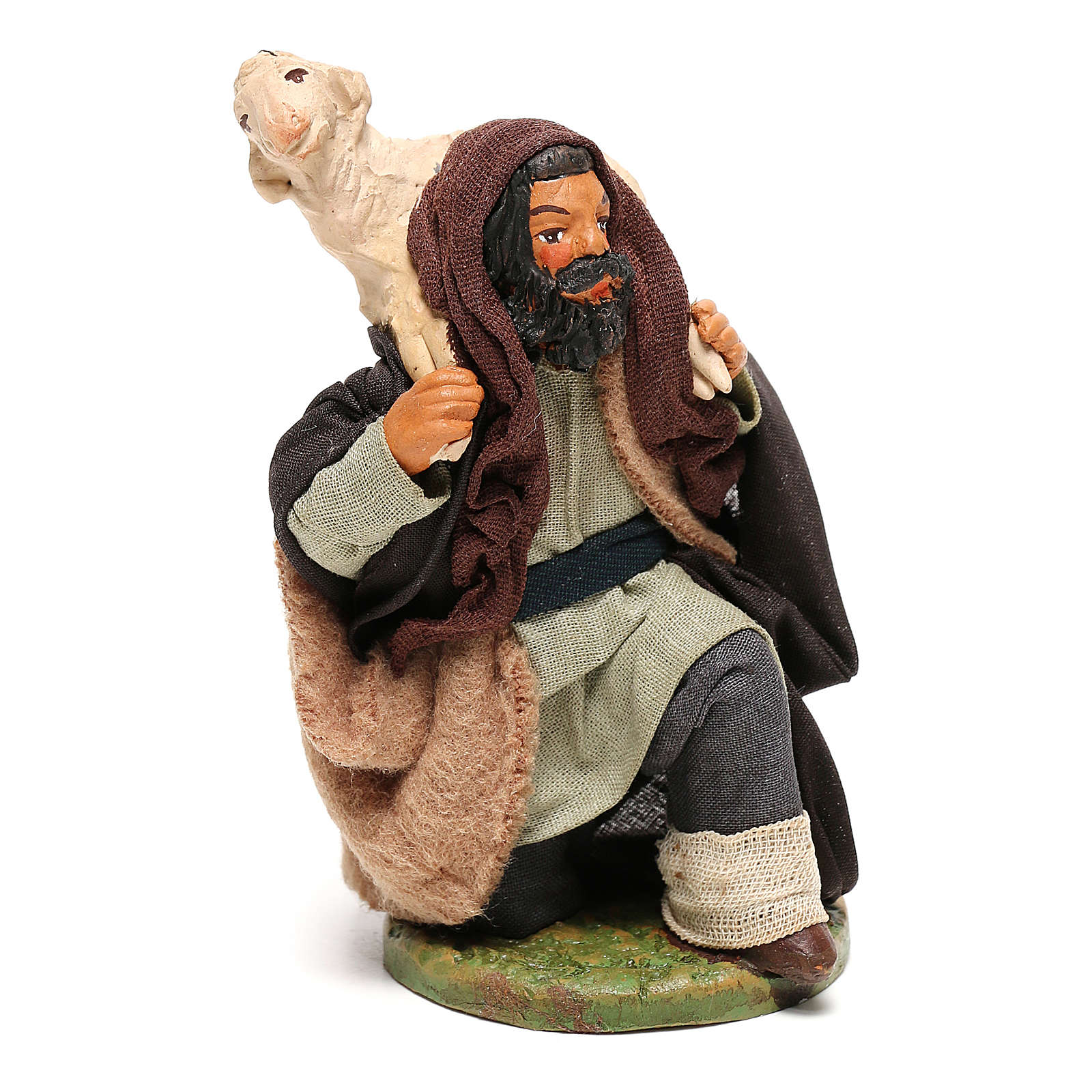 Kneeled shepherd with sheep on shoulders, Neapolitan Nativity Scene 12 cm 4