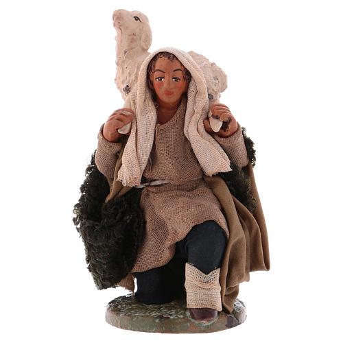 Kneeled shepherd with sheep on shoulders, Neapolitan Nativity Scene 12 cm 1