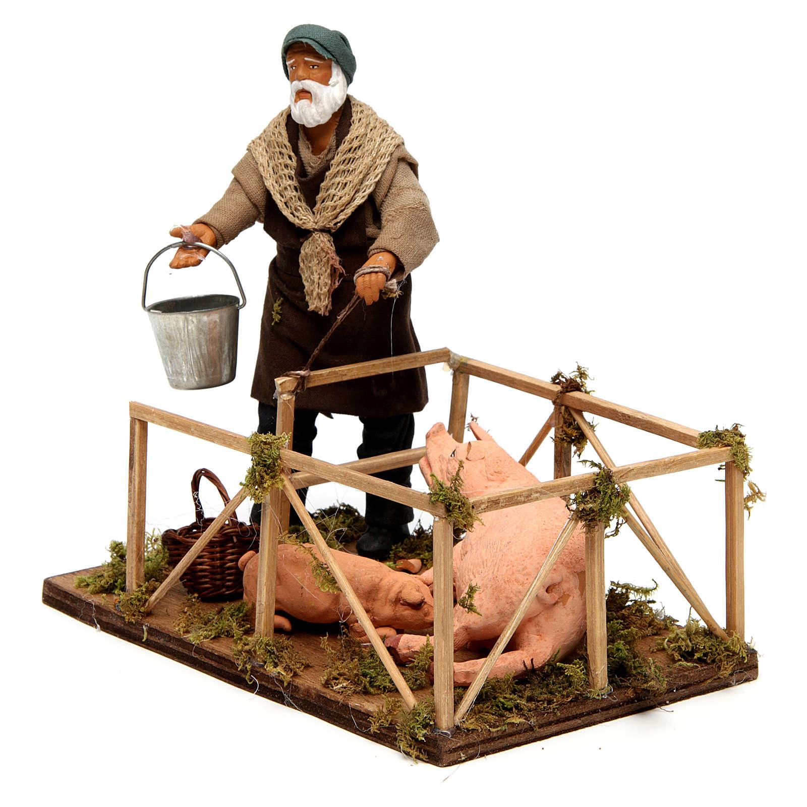 Uomo con recinto di maiali 14 cm presepe napoletano 4