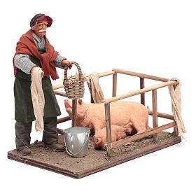 Uomo con recinto di maiali 14 cm presepe napoletano s4
