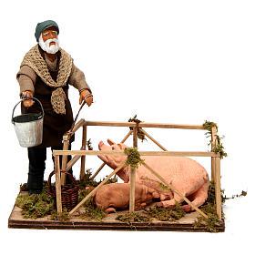 Uomo con recinto di maiali 14 cm presepe napoletano s1
