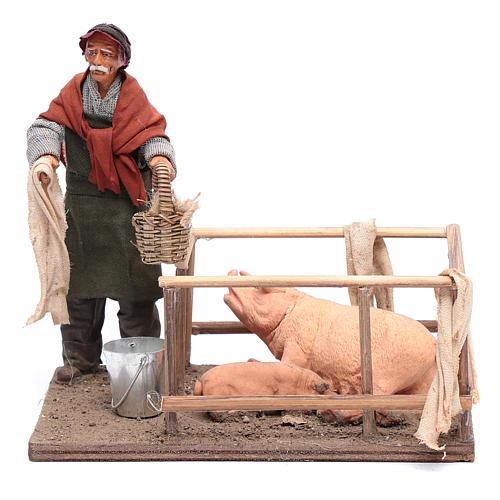 Uomo con recinto di maiali 14 cm presepe napoletano 1
