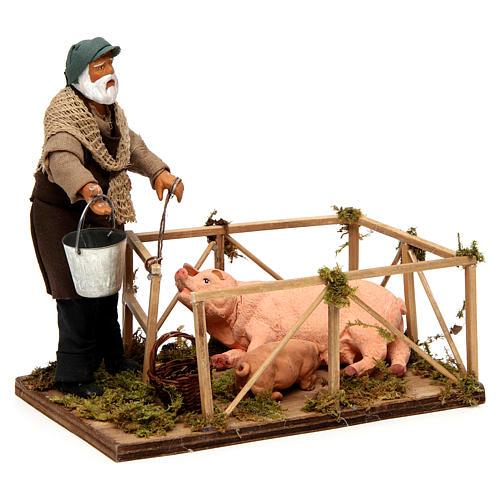 Uomo con recinto di maiali 14 cm presepe napoletano 3
