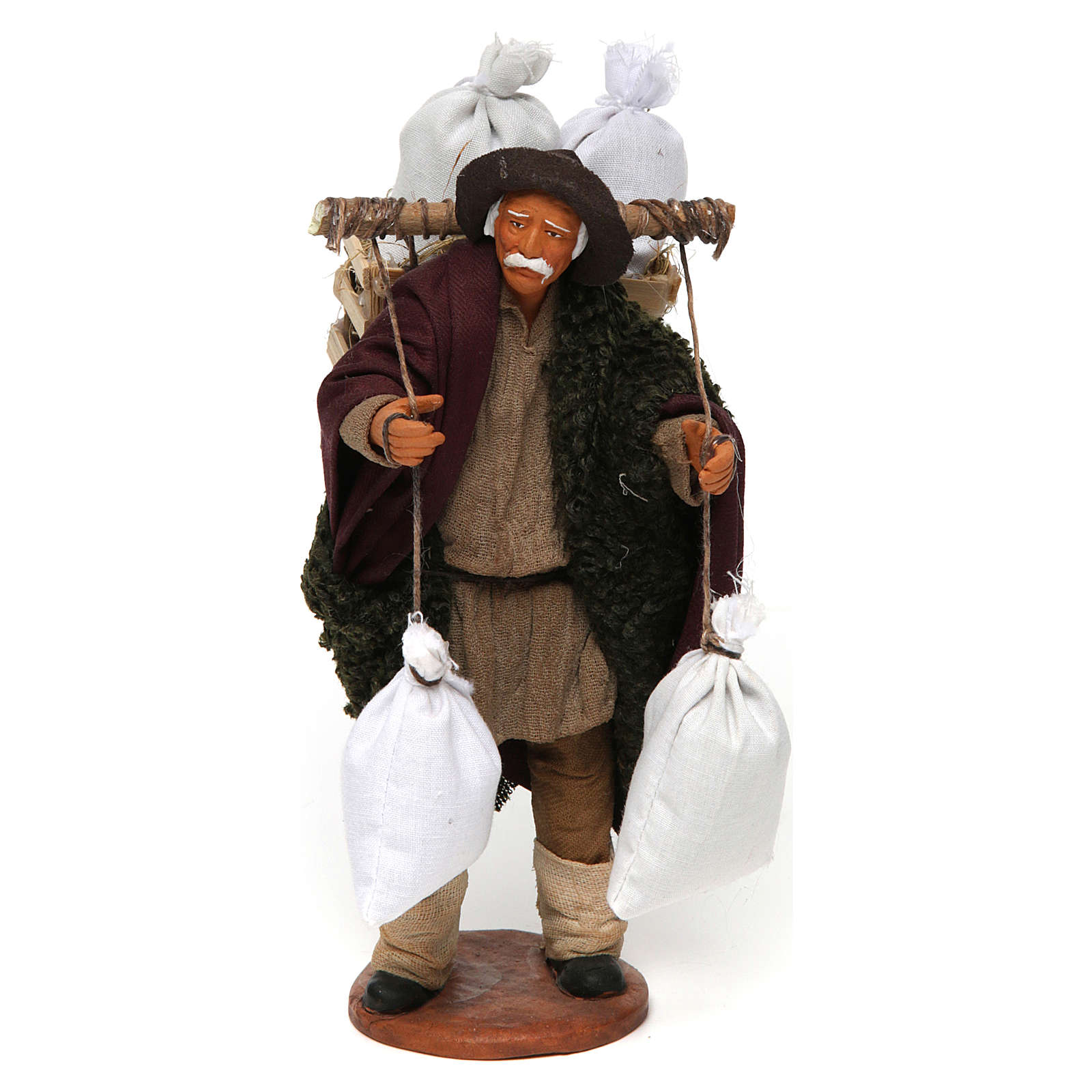 Uomo con cassetta e sacchi di farina, 14 cm presepe Napoli 4