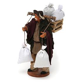 Uomo con cassetta e sacchi di farina, 14 cm presepe Napoli s2