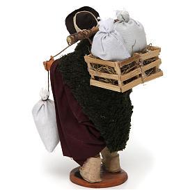 Uomo con cassetta e sacchi di farina, 14 cm presepe Napoli s3
