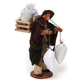 Uomo con cassetta e sacchi di farina, 14 cm presepe Napoli s4