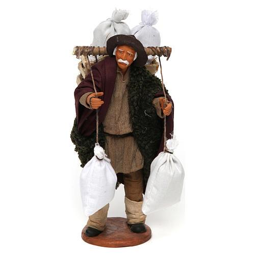 Uomo con cassetta e sacchi di farina, 14 cm presepe Napoli 1