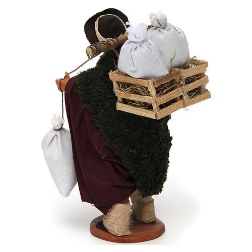 Uomo con cassetta e sacchi di farina, 14 cm presepe Napoli 3